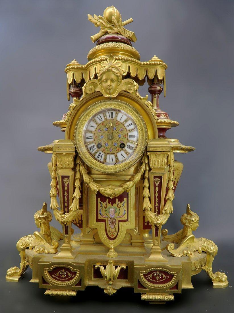 Fine 19th C. Bronze & Porcelain French Mantle Clock