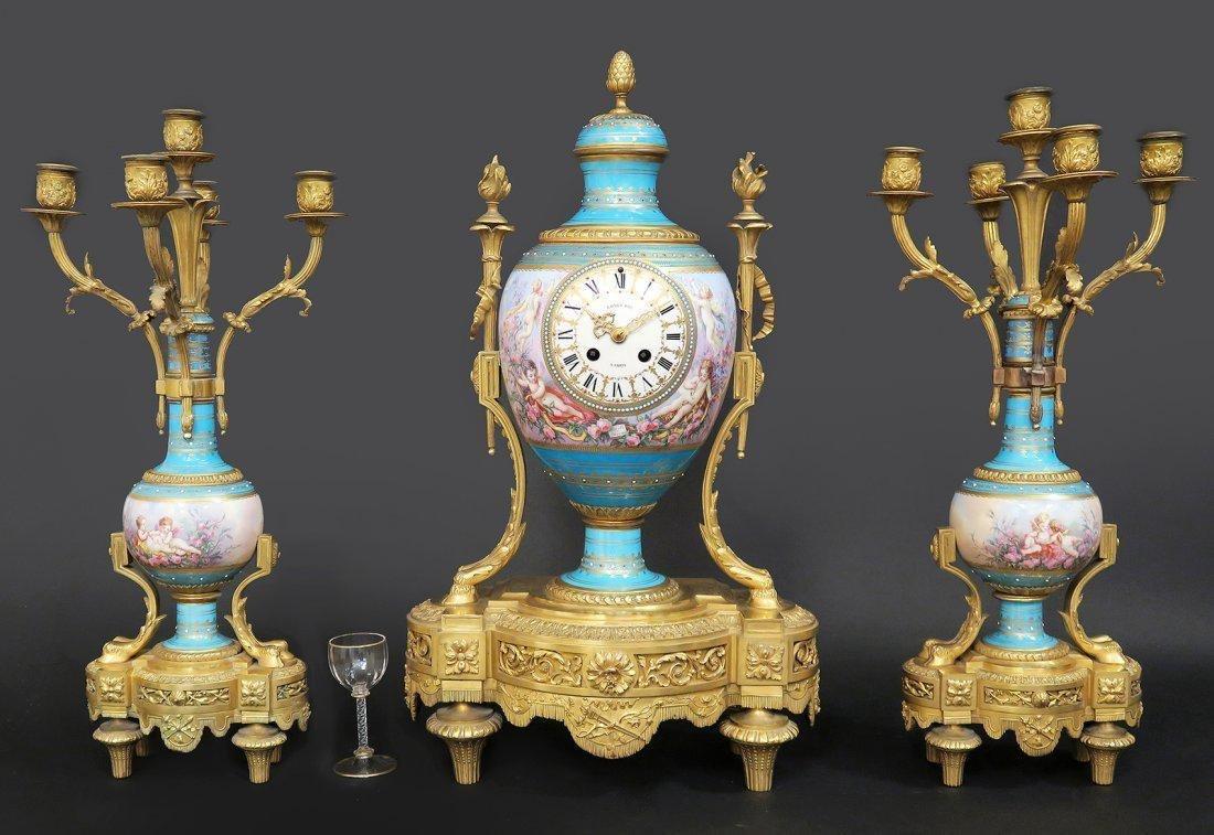 Large French Bronze & Sevres Porcelain Clock Set by Rai