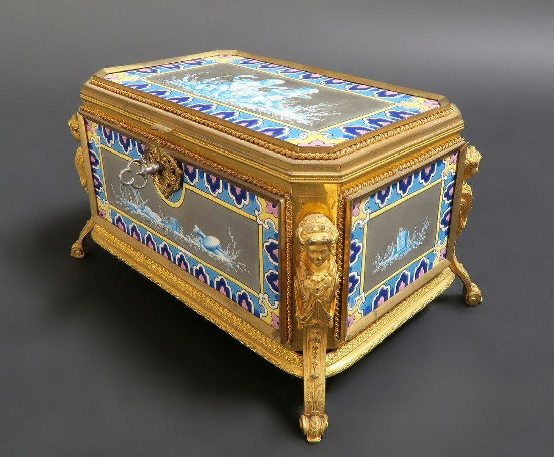 Very Fine French Bronze & Porcelain Figural Jewelry Box