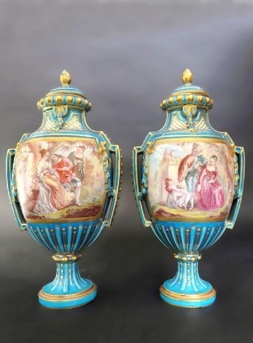 Pair 19th C. French Hand Painted Turquoise Sevres Urns