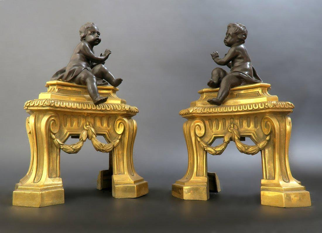 19th C Pair of French Bronze Figural Chenets