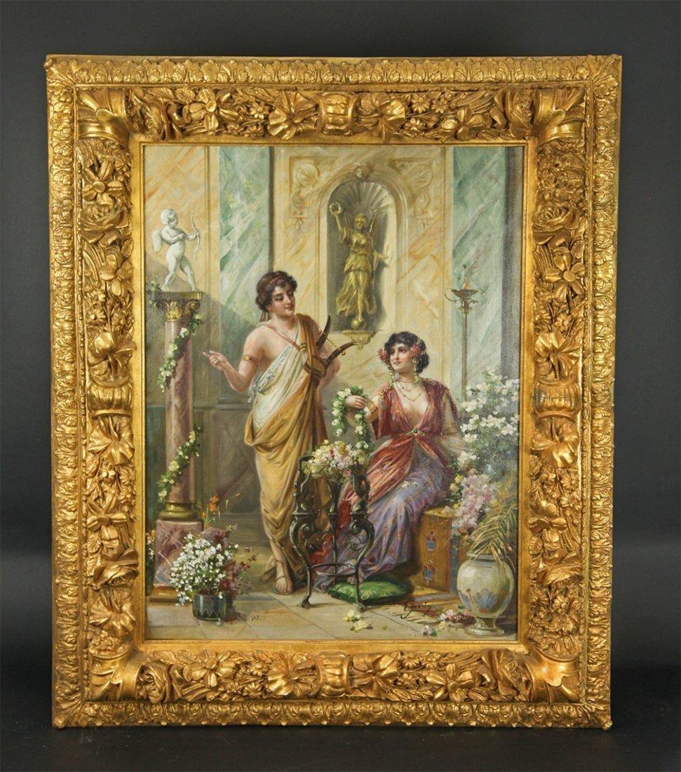 Italian painting oil on canvas ( villa romana )