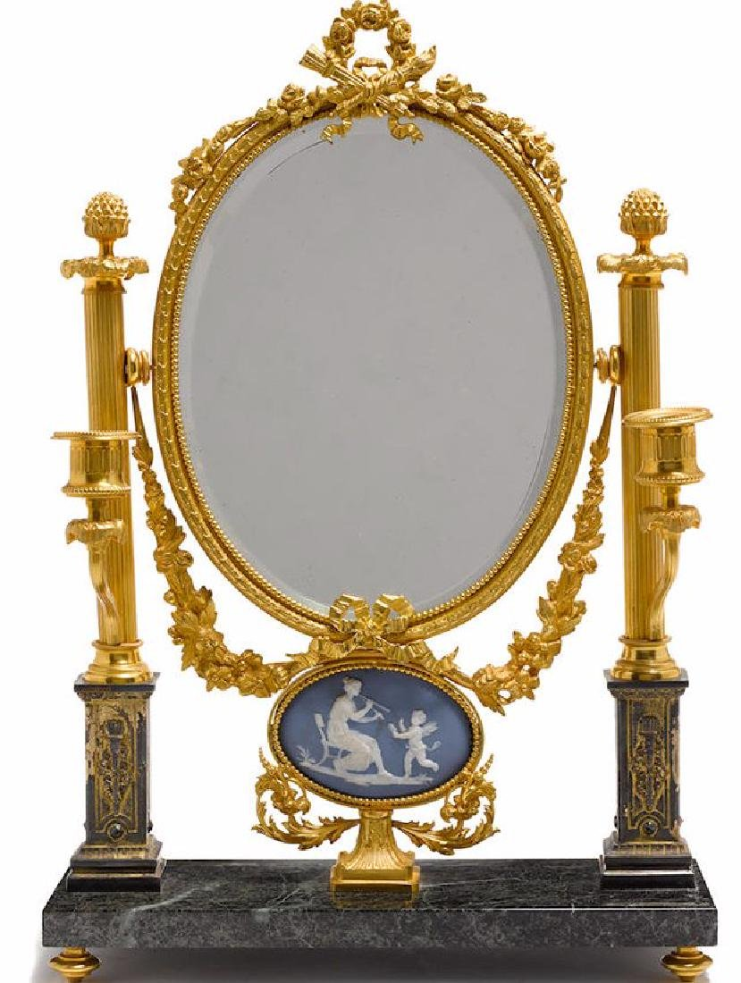 A NEOCLASSICAL STYLE JASPERWARE DRESSING TABLE MIRROR