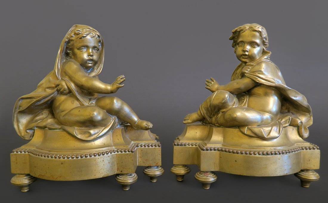 Stunning Pair Of Bronze Fireplace Figural Chenets