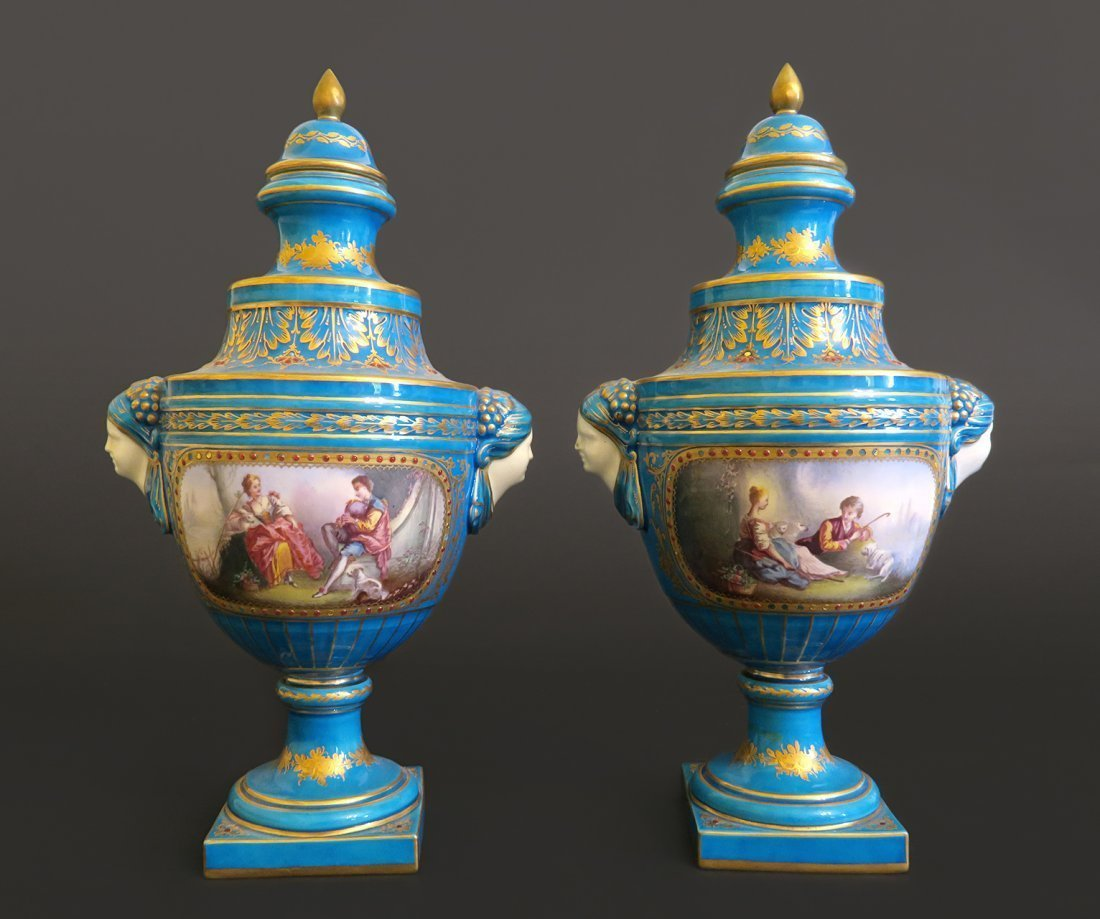 Pair Of French Sevres Porcelain Urn With Removable Top