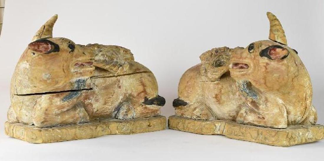 Pair of Carved Wood Foo Lions
