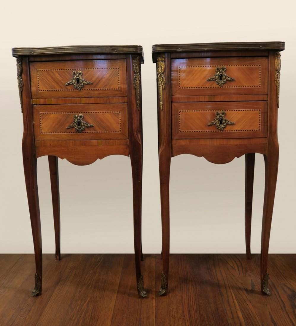 A Pair Of French Marble Top Side Table