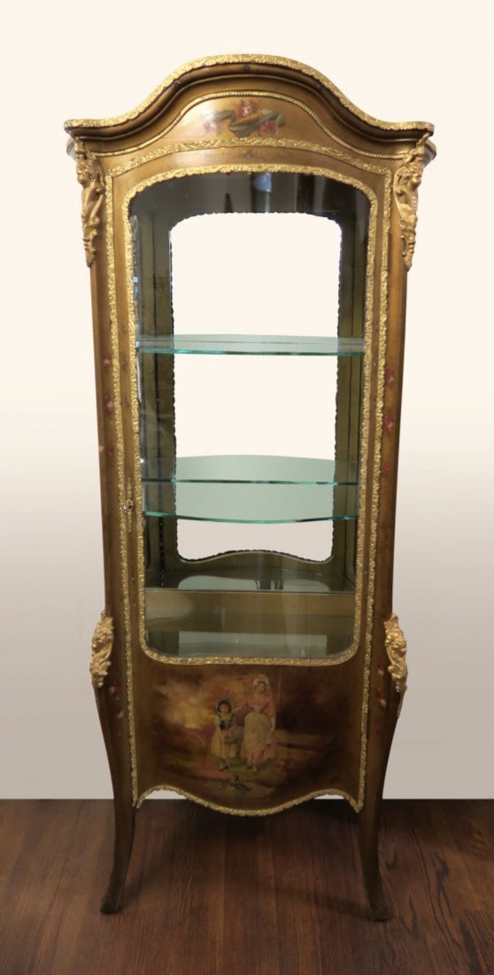 19th C. French Hand Painted Cabinet Mounted Bronze