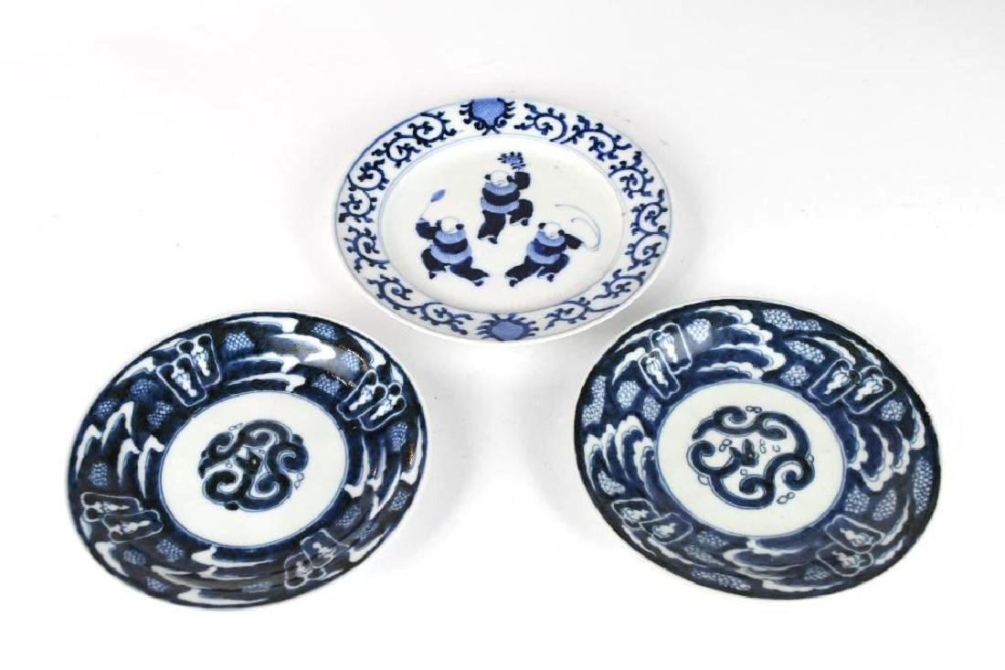 Three Chinese Porcelain Blue & White Plates