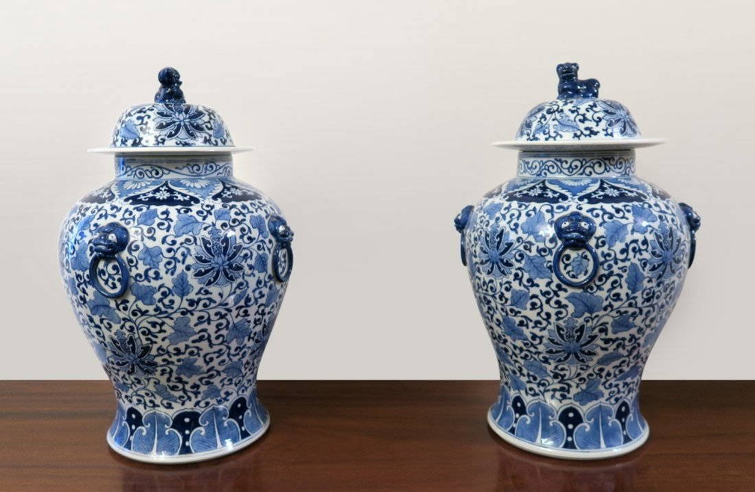 Pair of Chinese Porcelain Vase with Top
