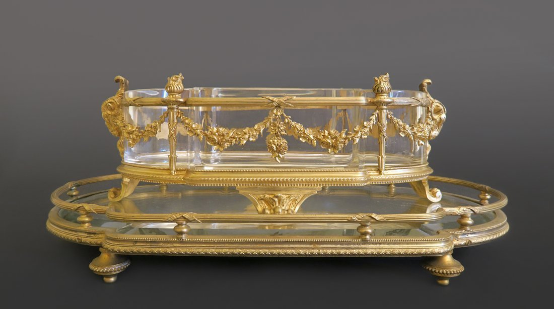 Baccarat Gilt Bronze Centerpiece With Mirrored Tray