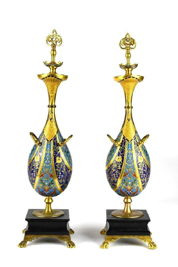 Pair of Barbedienne Bronze & Champleve Urns