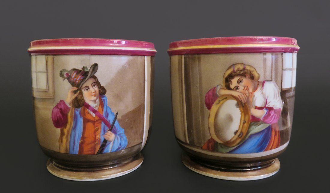 Pair Of Frenc Hand Paited Porcelain Wine Cooler