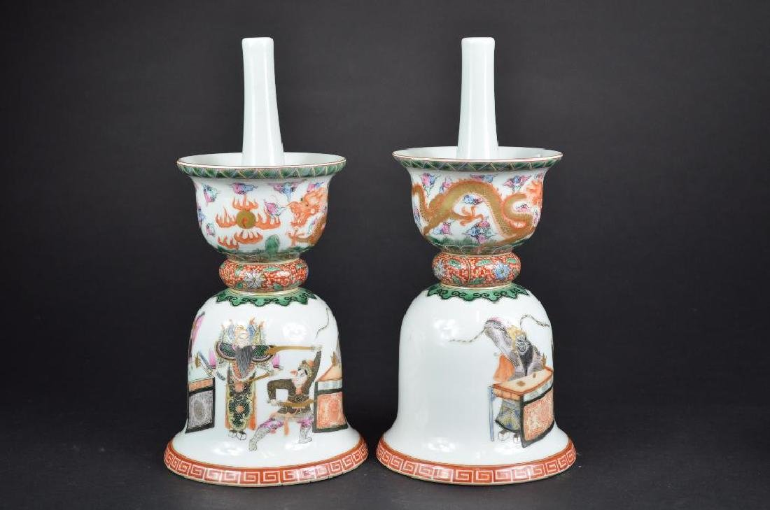 Chinese Pair of Wucai Glaze Candle Holders