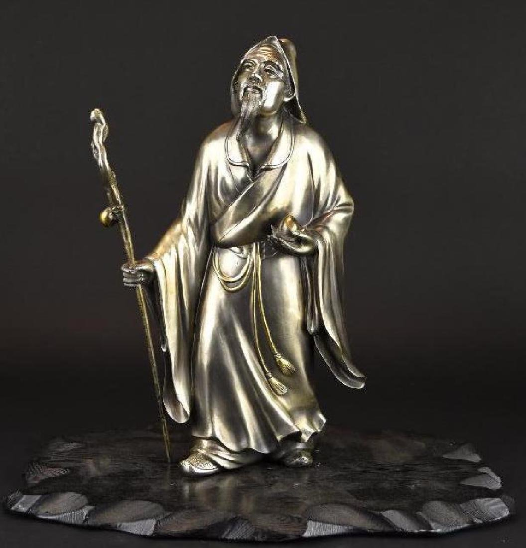 Chinese Silvered bronze Standing Lohan