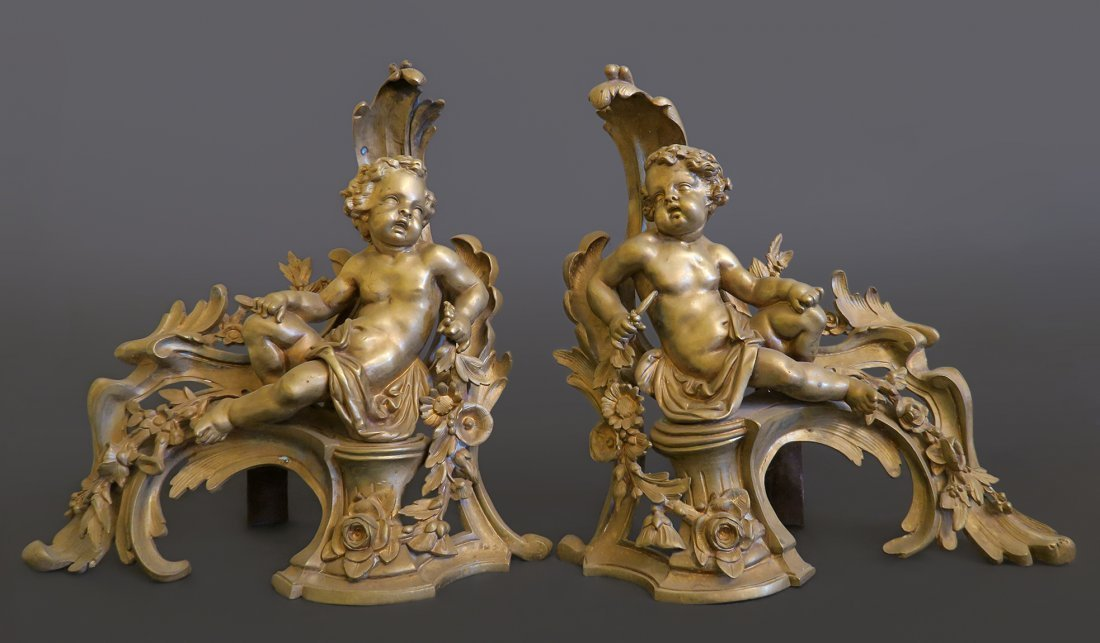 Magnificent Pair Of Bronze Fireplace Figural Chenets