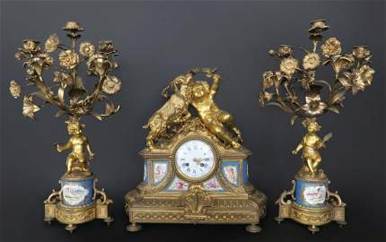 French Gilt Bronze And Sevres Porcelain Clock Set