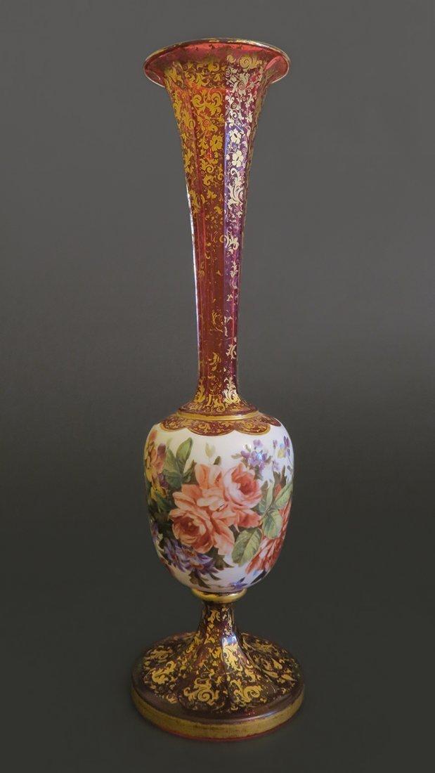 Bohemian Moser Gilted Overlay enameled Glass Vase