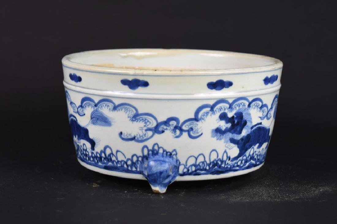 Chinese Blue & White Porcelain Tripod Bowl