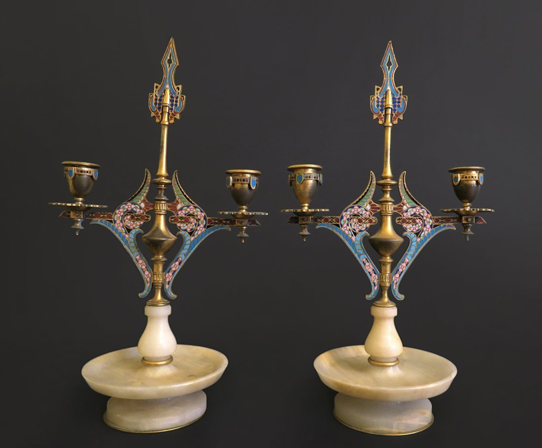 Pair Of French Champleve Candelabra Mounted On Bronze