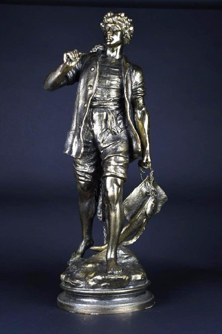 European Gilt Bronze Statue of a Fisherman
