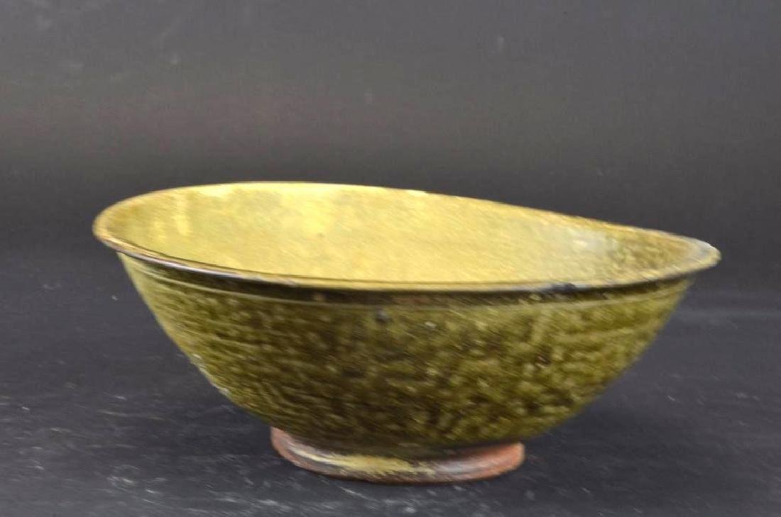 Chinese Tea Dust Glaze Bowl with incised Decoration