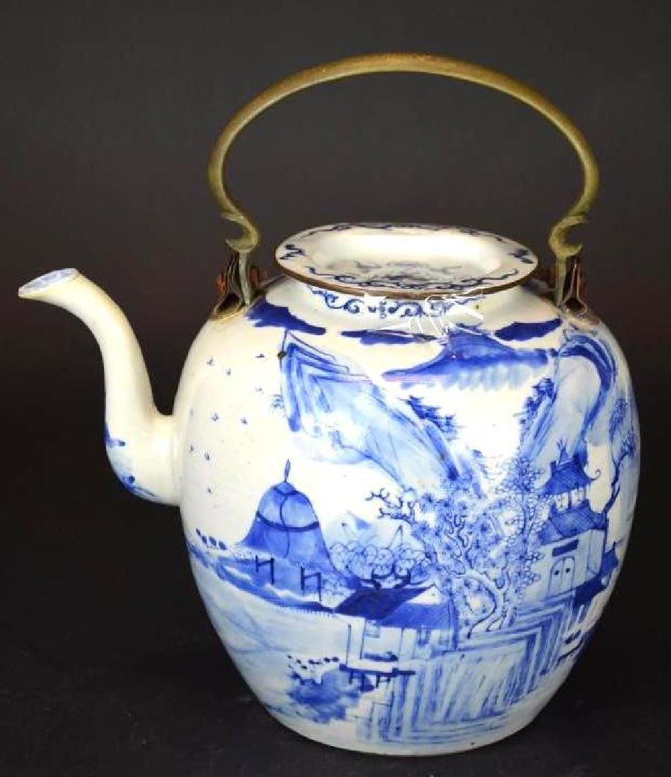 Antique Chinese Blue & White Porcelain Kettle
