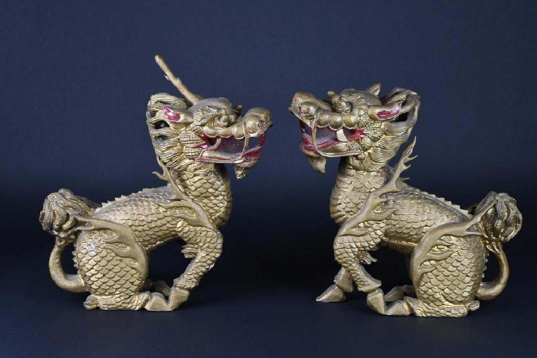 Pair of Carved Gilt wood Chinese Dragons