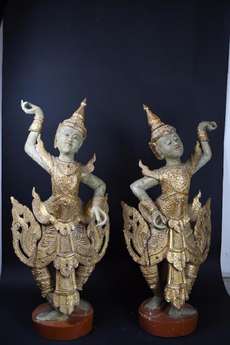 Pair of Bronze Standing Buddhas