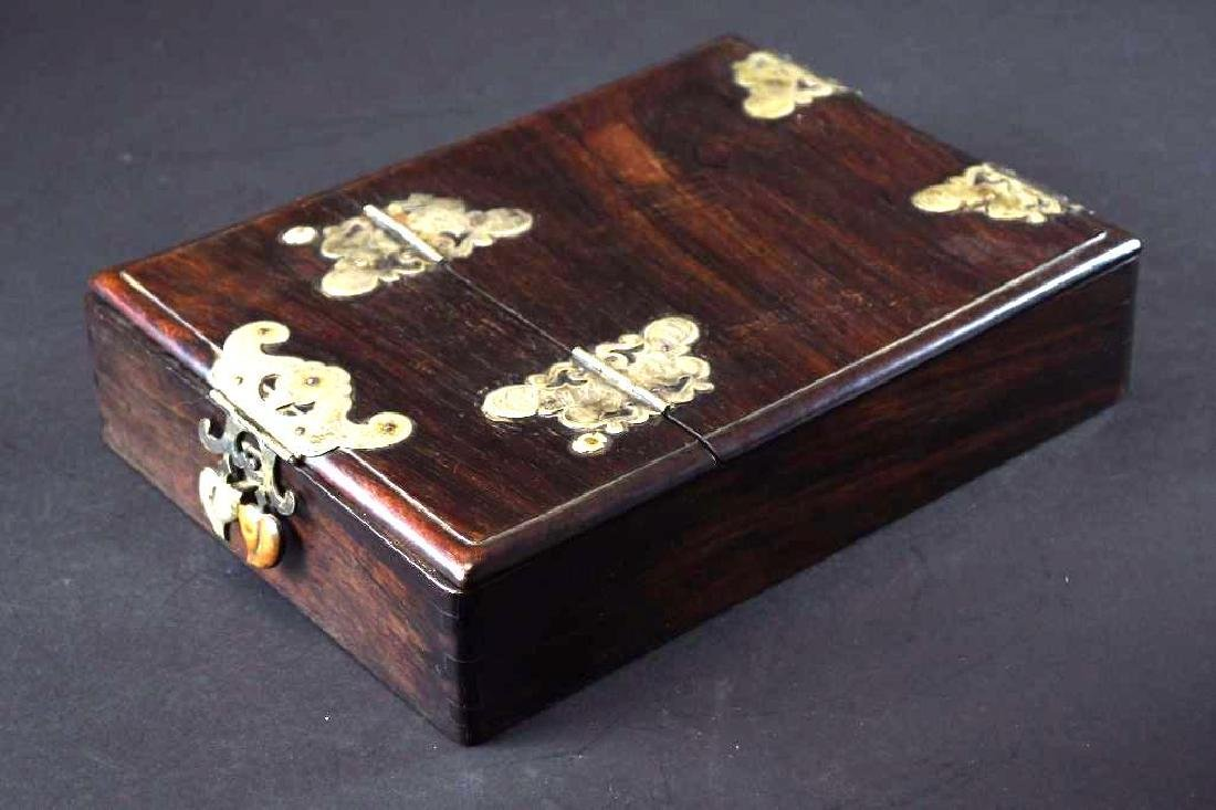 Antique Chinese Hardwood Traveling Mirror Box
