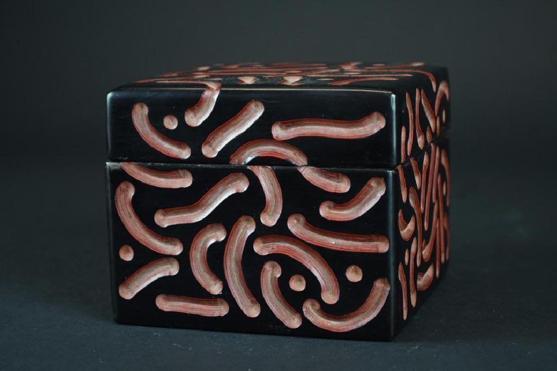 Chinese Carved Black & Red Cinnabar Square Box