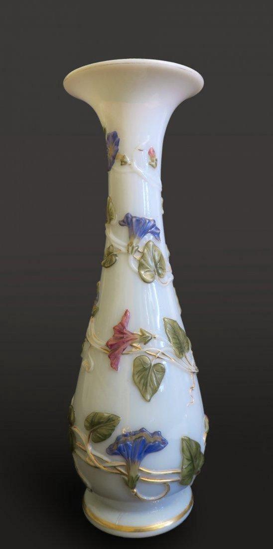 Stunning Enamel Painted Opaline Vase