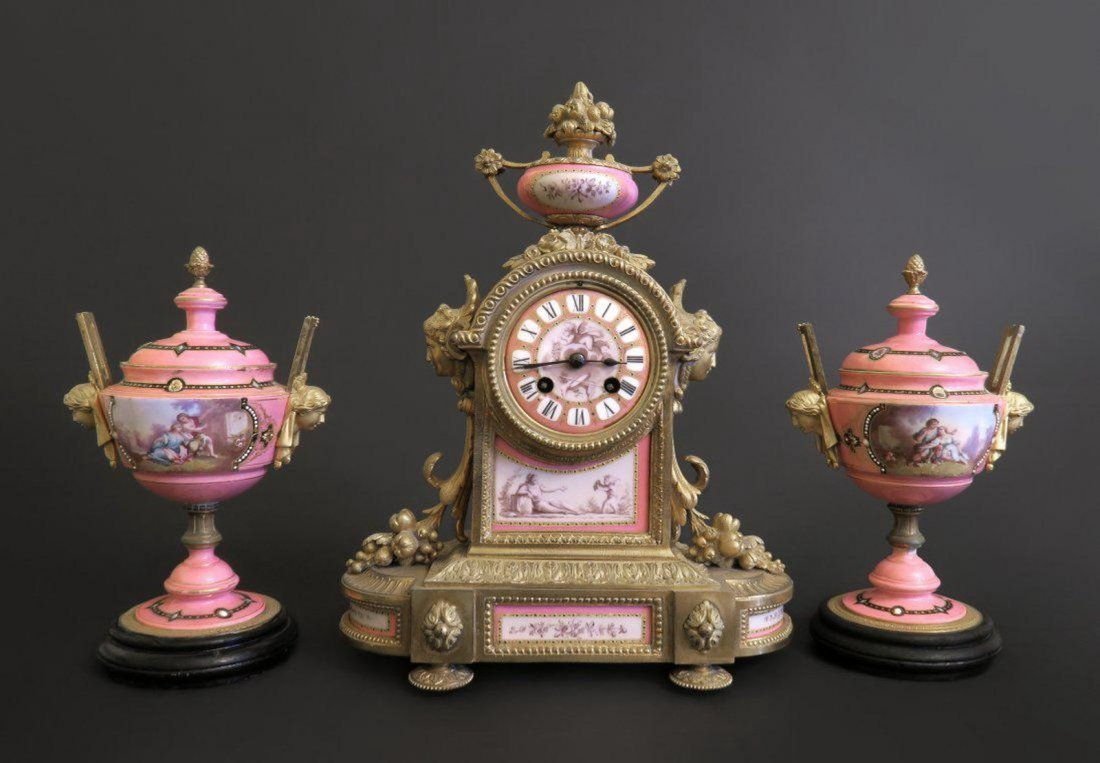 Bronze & Porcelain French Clock Set
