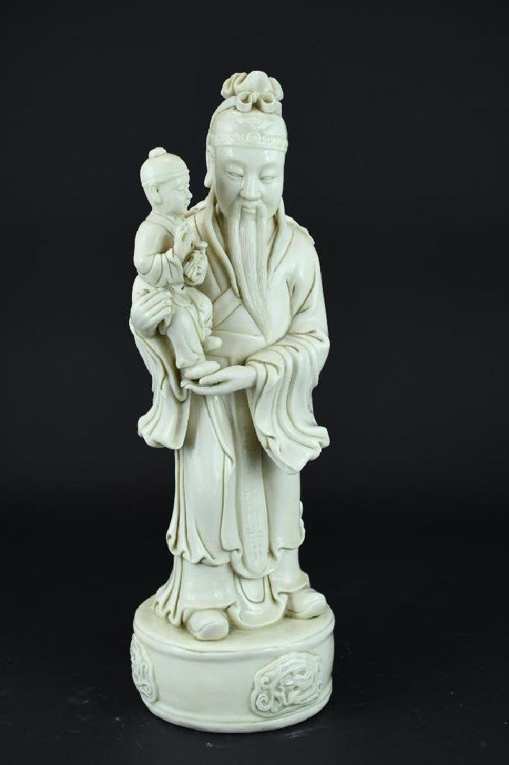 Chinese Blanc De Chine Porcelain Lohan & Child