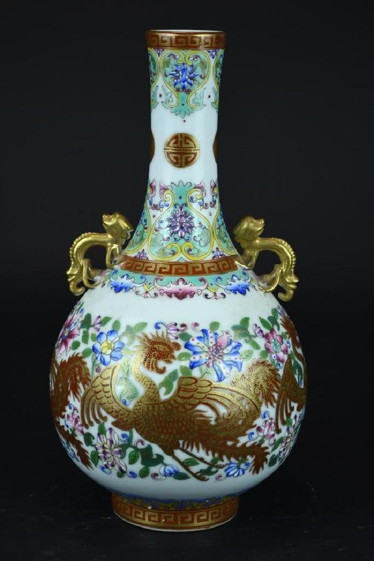 Chinese Famille Rose Porcelain Dragon Vase