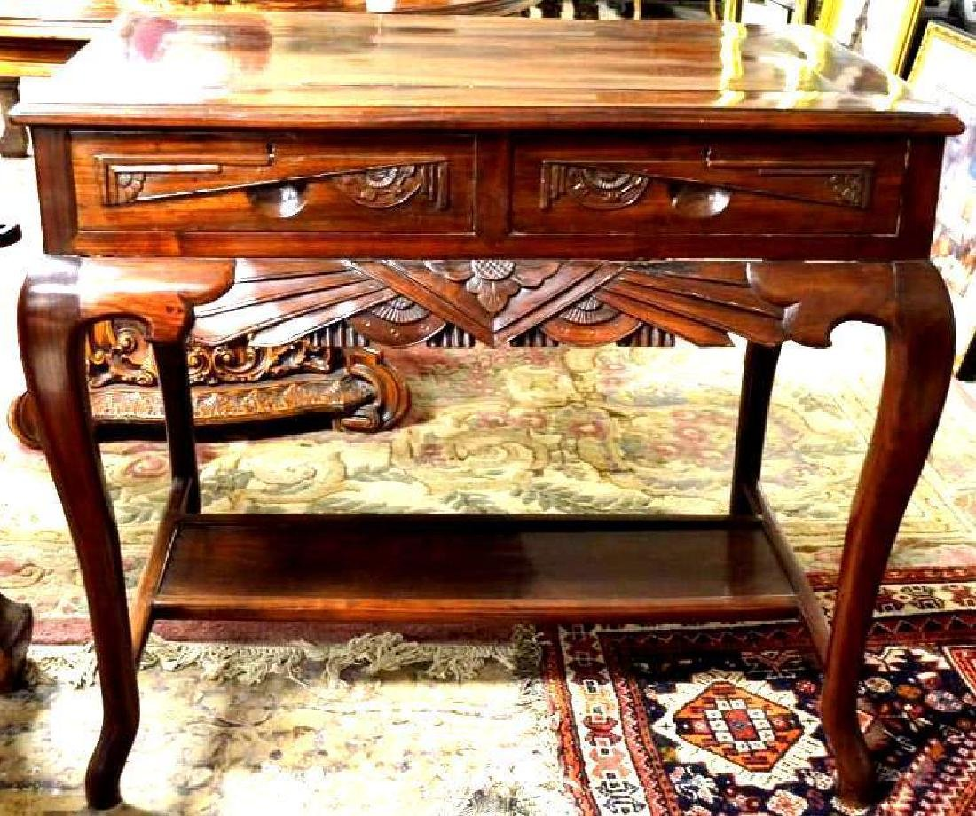 Chinese Carved Hardwood Desk