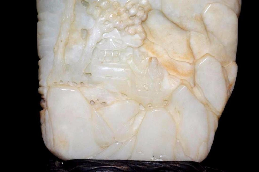 19th Century Chinese Carved Jade On Wood Stand - 4