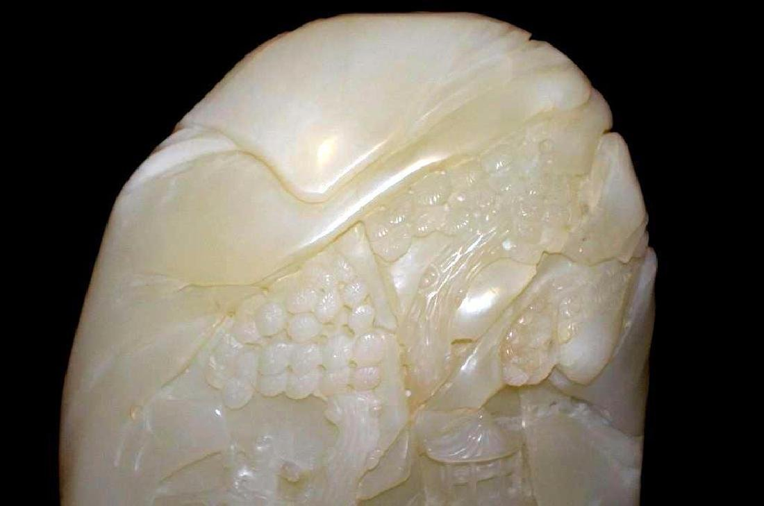 19th Century Chinese Carved Jade On Wood Stand - 7