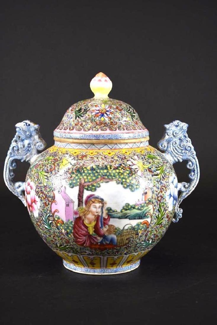Chinese Famille rose Porcelain LiddedJar