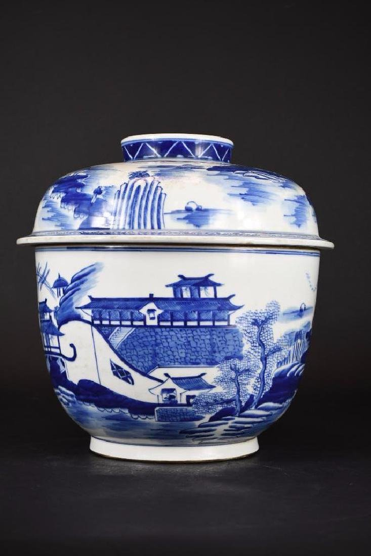 Chinese Blue & White Lidded Bowl