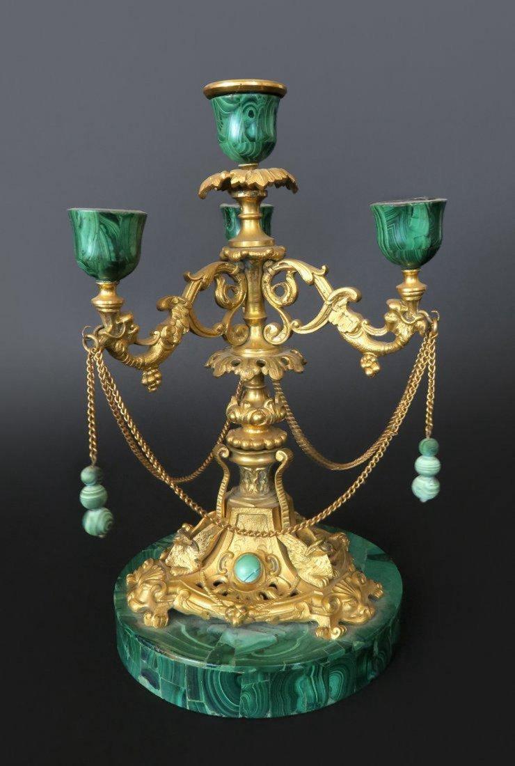 Russian Gilt Bronze and Malachite Candlestick
