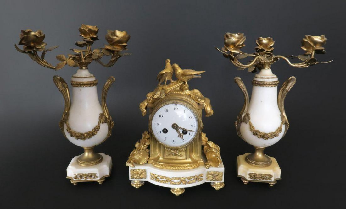 French White Marble and Bronze Clock Set