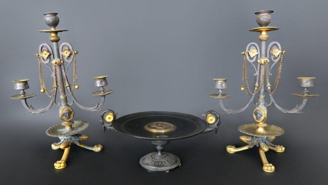 French Centerpiece and Candlesticks Set