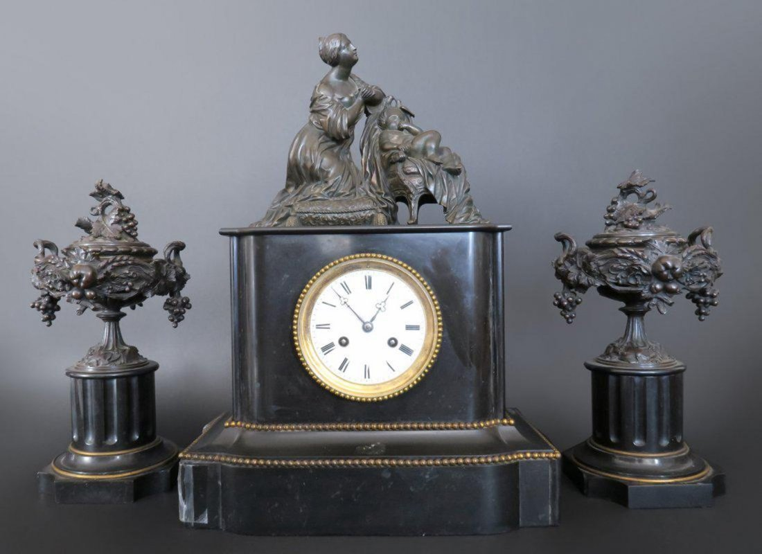 Brown Patinat Bronze Mounted on Black Onyx Clock Set