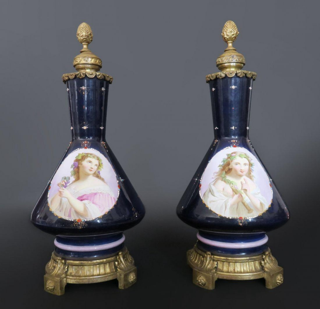 Pair Of Blue Sevres Vase Mounted Bronze