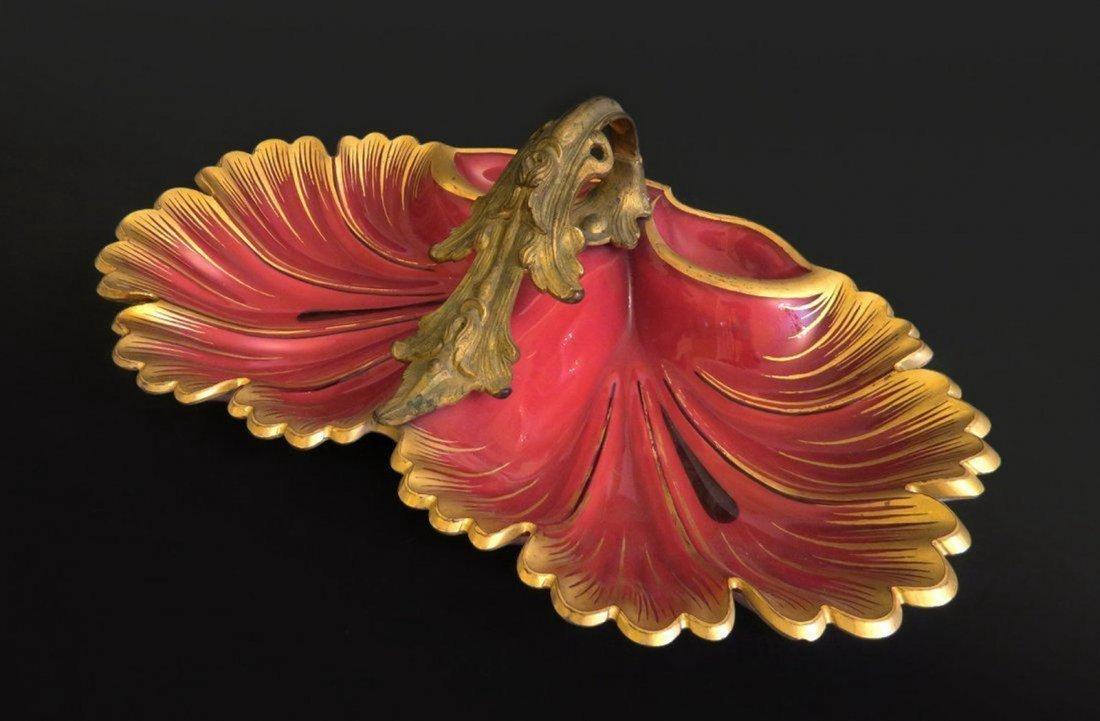 Rare Bohemian Gilted Glass With Gilt Bronze Handle