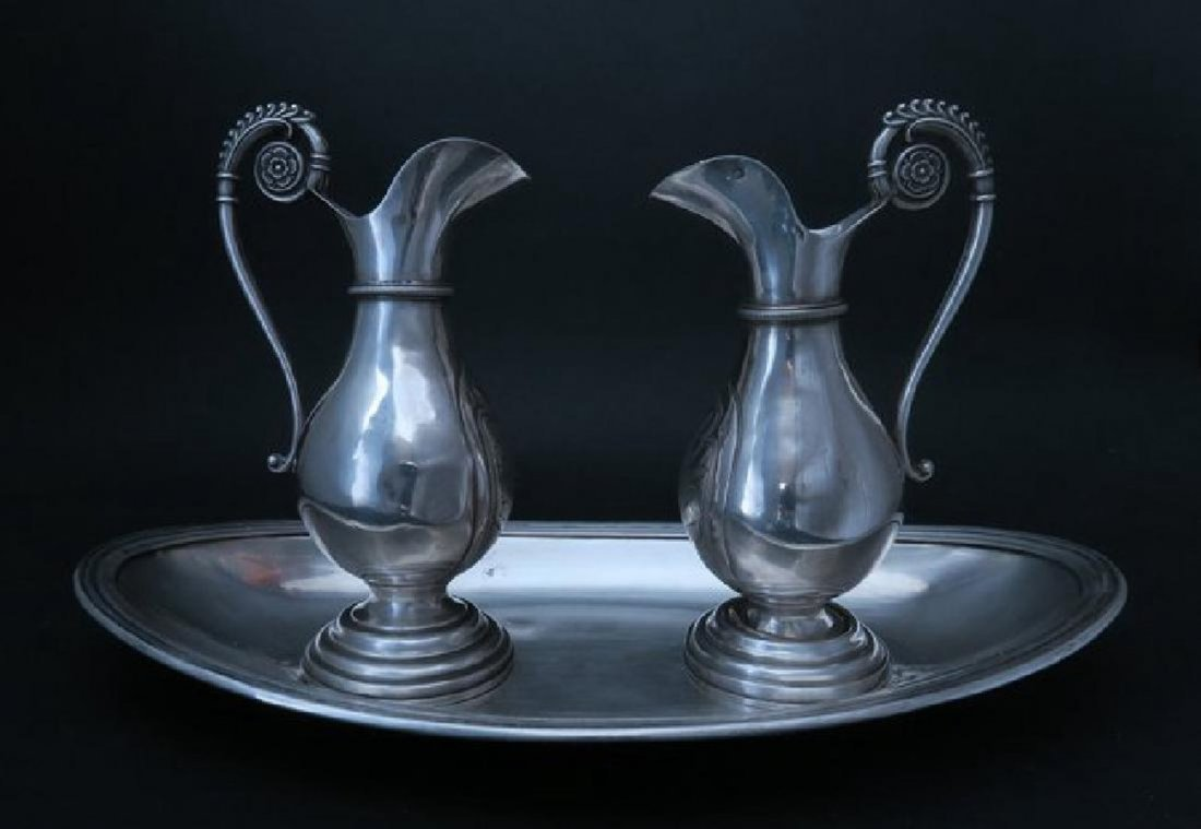 Beautiful Antique French Silver Altar Cruet Set & Tray