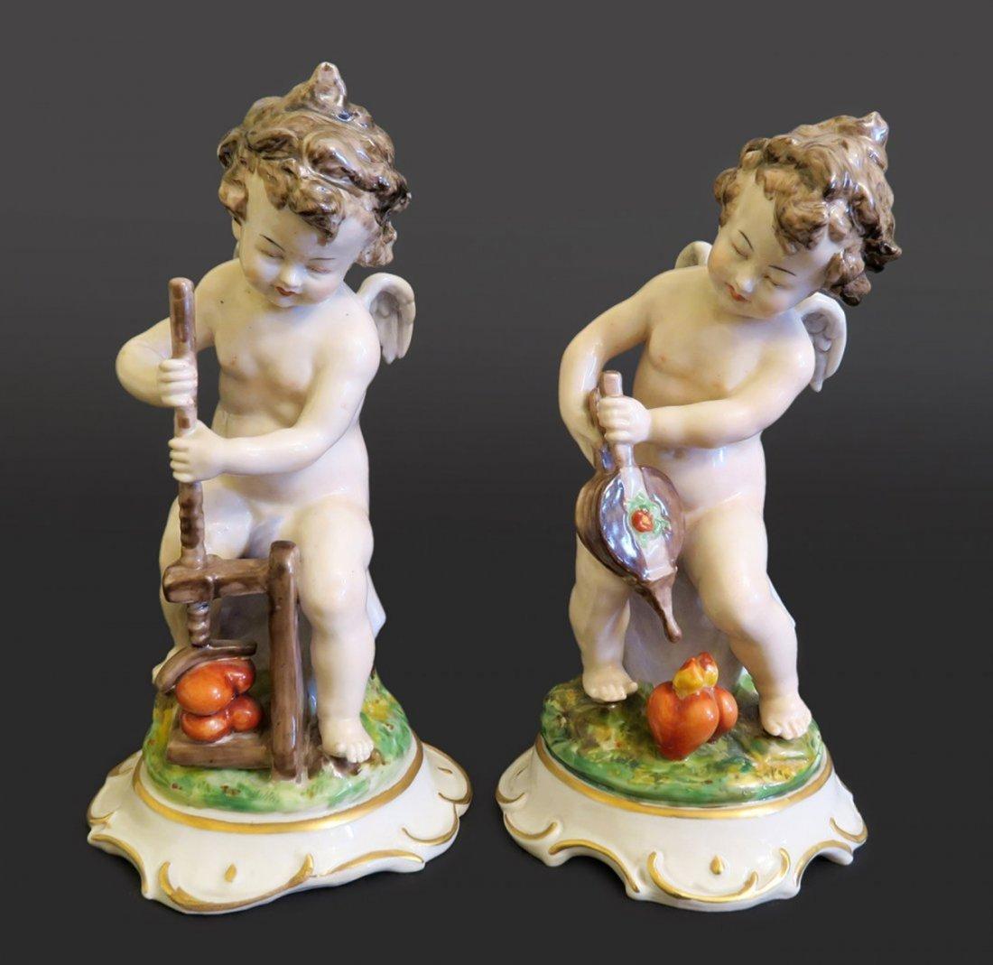 Pair of German Dresden Porcelain Figural Statue
