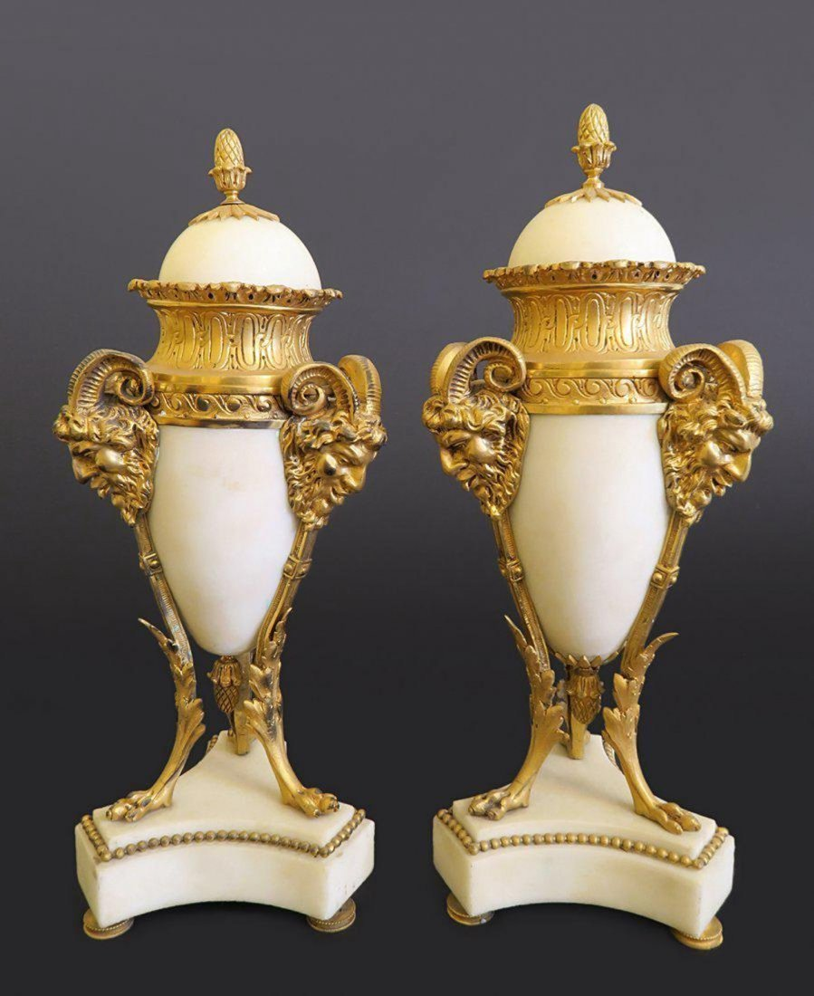 Pair Of White Marble Urn Mounted On Gilt Bronze Stand