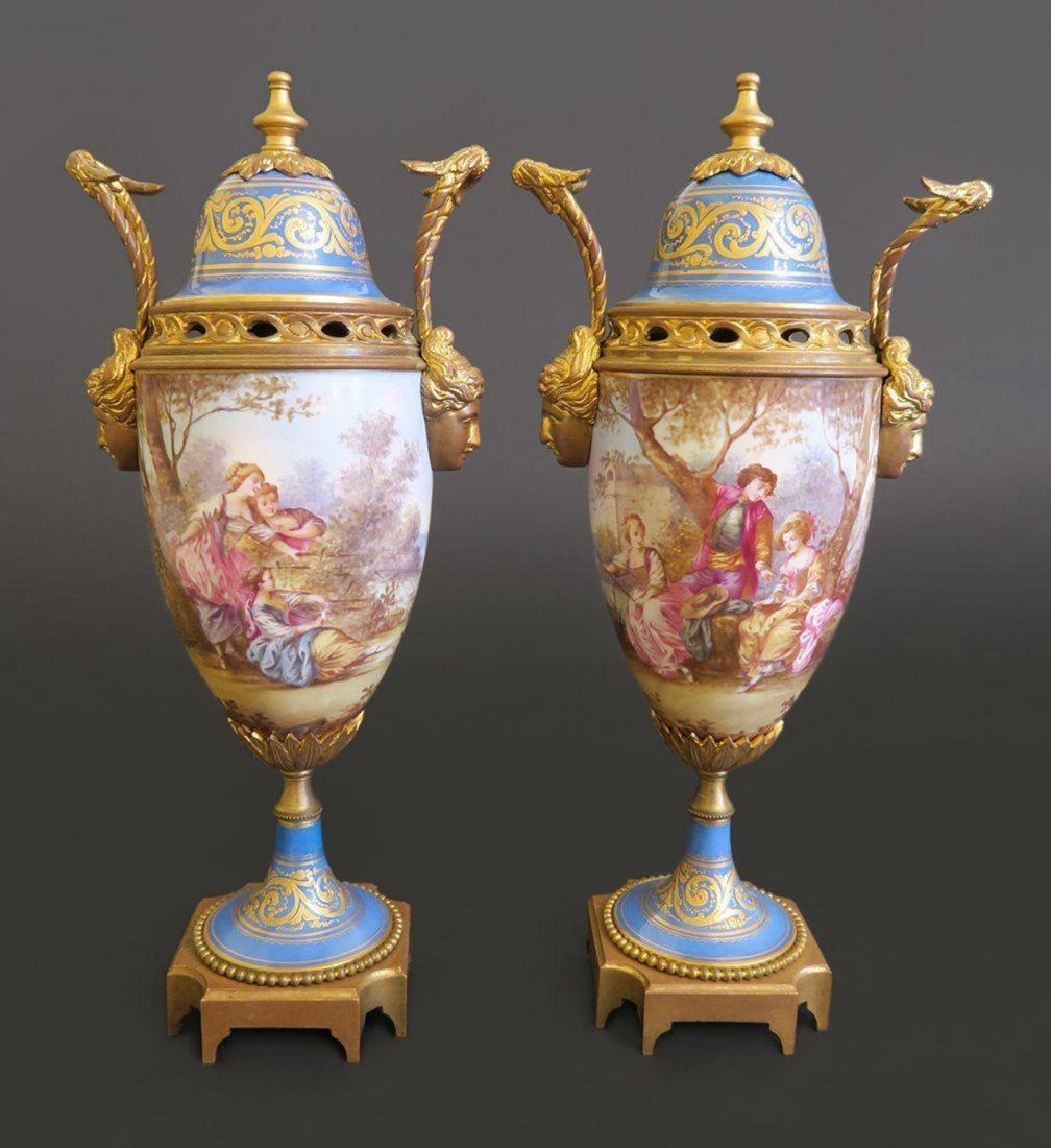 Pair of French Sevres Porcelain Vase Mounted On Bronze